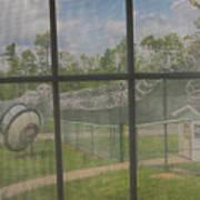 Prison Yard With Razor Wire, Guard House And Satellite Dish Art Print