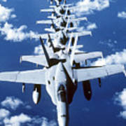 Fa-18c Hornet Aircraft Fly In Formation Art Print