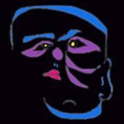 Face 1 On Black Art Print