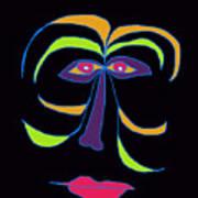 Face 2 On Black Art Print
