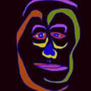 Face 5 On Black Art Print