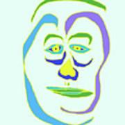 Face 5 On Light Blue Art Print