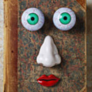 Facebook Old Book With Face Art Print