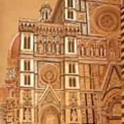 Faced Of Florence Cathedral  Art Print