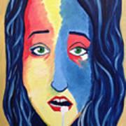 Facial Or Woman With Green Eyes Art Print