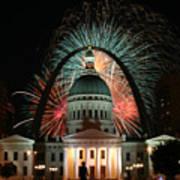 Fair St Louis Fireworks Print by William Shermer