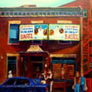 Fairmount Bagel By Montreal Streetscene Painter Carole  Spandau Art Print