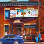 Fairmount Bagel With Blue Car  Art Print