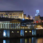 Fairmount Waterworks And Art Museum At Night Art Print