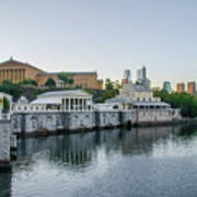 Fairmount Waterworks And Philadelphia Art Museum In The Morning Art Print