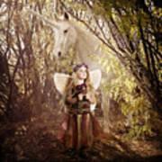 Fairy And Unicorn Art Print by Cindy Singleton