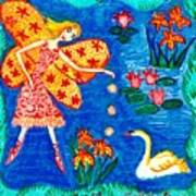 Fairy Feeding Swan Art Print