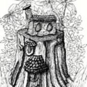 Fairy House Stump With Penthouse Art Print