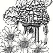 Fairy House With Pine Cone Roof And Daisies Art Print