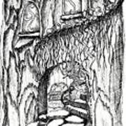 Fairy On Stairs Tree Fairy Home Art Print
