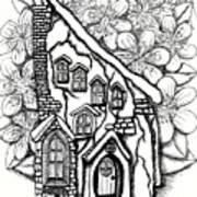 Fairy Stucco House With Flowers Art Print
