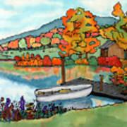Fall Boat And Dock Art Print