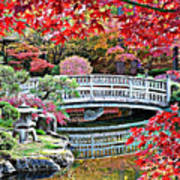 Fall Bridge In Manito Park Art Print by Carol Groenen
