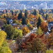 Fall Colors In Spokane From The Post Street Hill Art Print