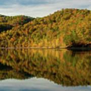 Fall Colors On Lake Reflection Art Print