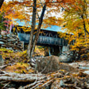 Fall Colors Over The Flume Gorge Covered Bridge Art Print