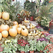 Fall Decorating At The Market Art Print
