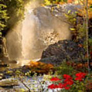 Fall Falls Mist  Dead River Falls  Marquette Mi Art Print