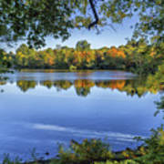 Fall Foliage At Turners Pond In Milton Massachusetts Art Print