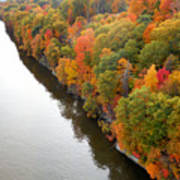 Fall Foliage In Hudson River 10 Art Print