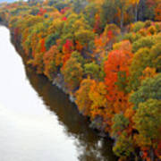 Fall Foliage In Hudson River 6 Art Print
