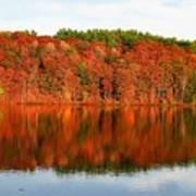Fall Foliage Reflection Kennebec River Hallowell Art Print