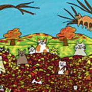 Fall Kitties Art Print