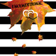 Fall Leaf Love Typography On Black And White Stripes Art Print