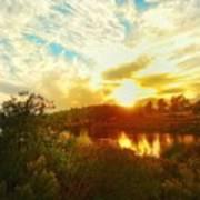 Fall Sunset At Lake Murray San Diego Art Print