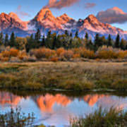 Fall Teton Tip Reflections Art Print
