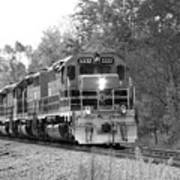 Fall Train In Black And White Art Print