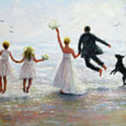 Family Beach Wedding Art Print