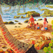 Family Day At Jobos Beach Art Print by Milagros Palmieri