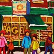 Family  Fun At St. Viateur Bagel Art Print