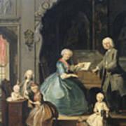 Family Group Near A Harpsichord, 1739 Art Print