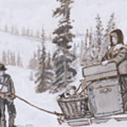 Family Moving With Sled Historical Vignette Art Print