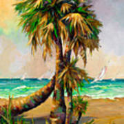 Family Of Palm Trees With Sail Boats Art Print