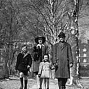 Family Out Walking On A Wintry Day Art Print