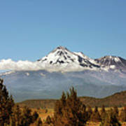Family Portrait - Mount Shasta And Shastina Northern California Art Print