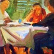 Family Talk At The Table Art Print