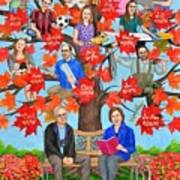Family Tree Art As 70th Birthday Gift For Mom Poster