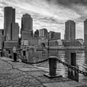 Fan Pier Boston Harbor Bw Art Print