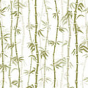 Fancy Japanese Bamboo Watercolor Painting Art Print