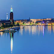 Fantastic Stockholm And Gamla Stan Reflection From A Distant Bridge Art Print