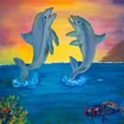 Fantasy Dolphins Art Print